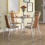 Conjunto de Mesa 0,80m Selena Carraro com 4 Cadeiras Cromado Native Conhaque
